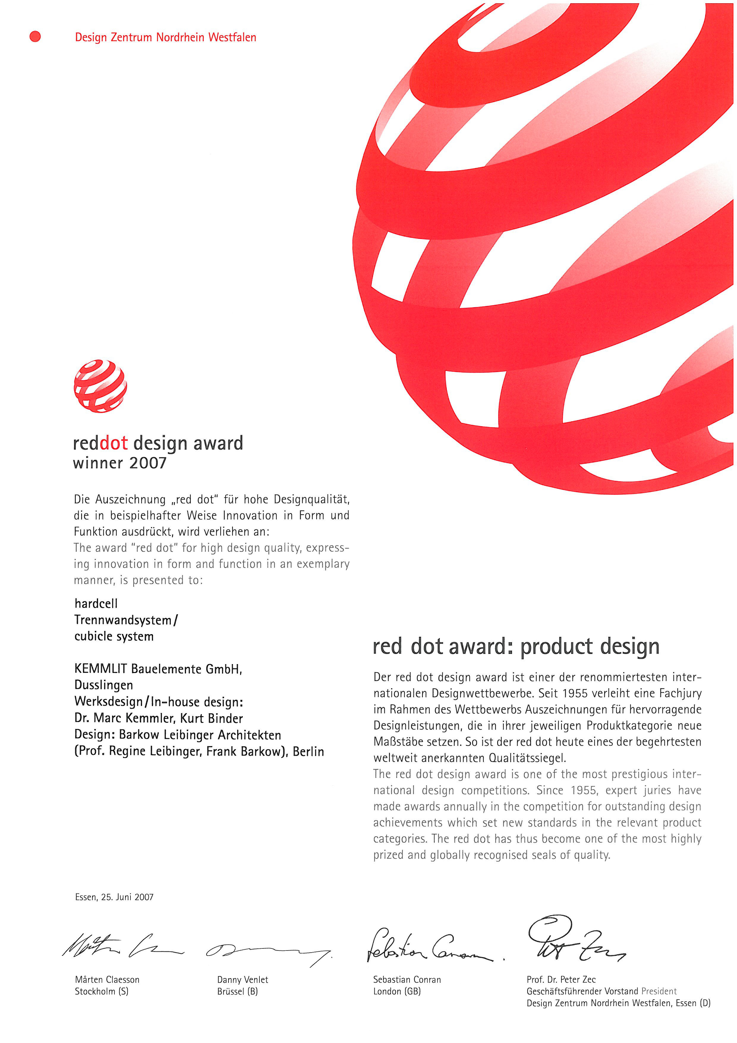 reddot Design Award Soft CELL Cubicle System
