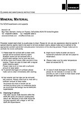 Mineral material care and cleaning